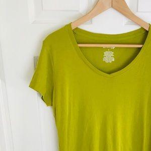 { St. John's Bay} Green V-neck Stretchy Cotton Tee
